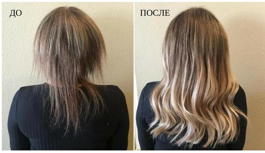 результат горячего наращивания волос