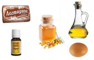 дегтярная маска яйцо-масло