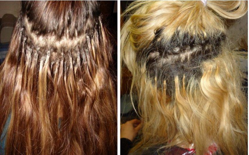 после наращивания волос