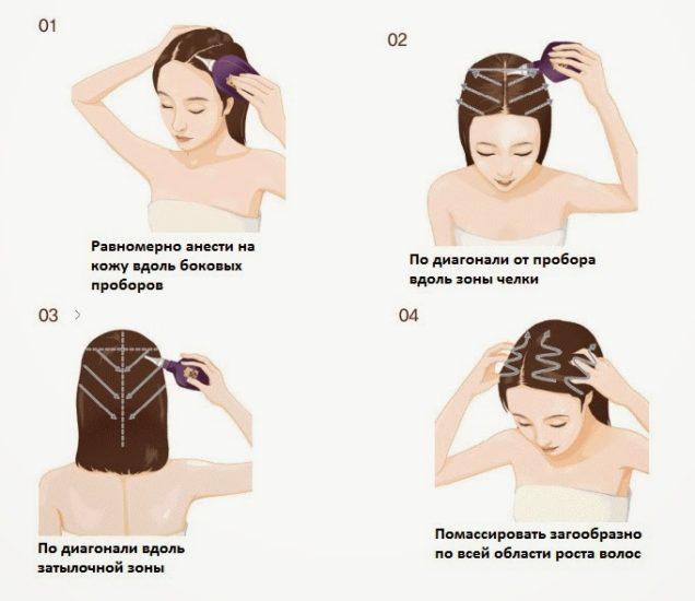 нанесение лосьона на кожу головы