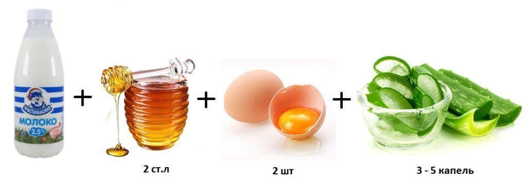 молоко мед яйцо и алоэ