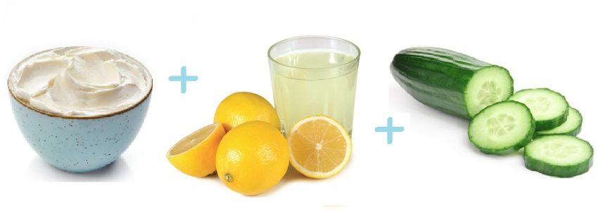 сметана, лимонный сок и огурец