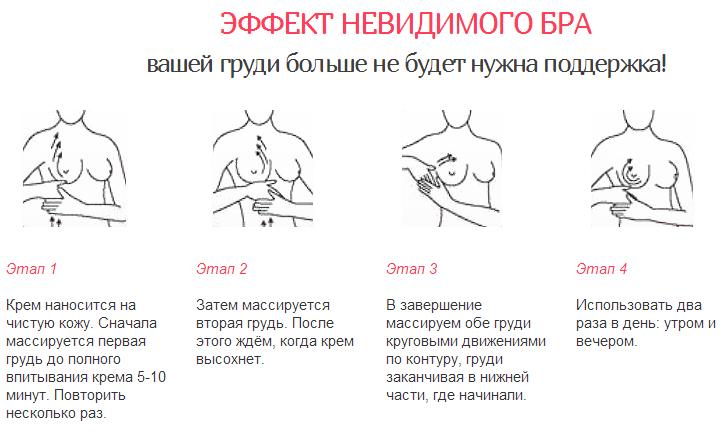 как наносить крем на грудь