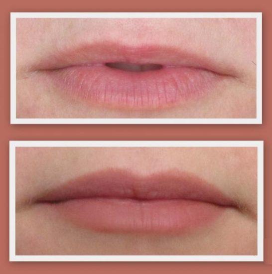 выравнивание контура губ карандашом